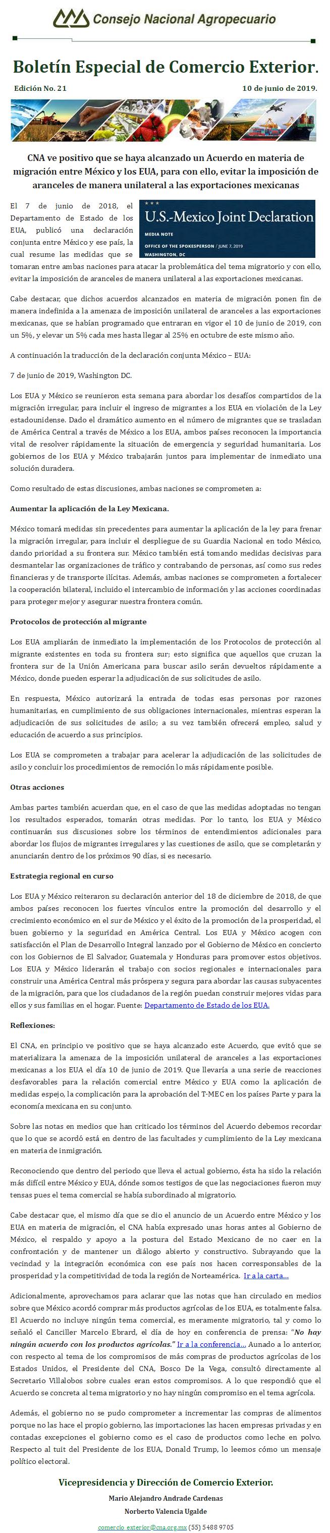 Boletín Especial de Comercio Exterior del CNA, Edición No. 21