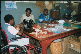 The work table at Kampala School for the Physically Handicapped