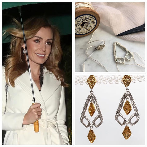 Katherine Jenkins wearing Two-tone Geo-earrings