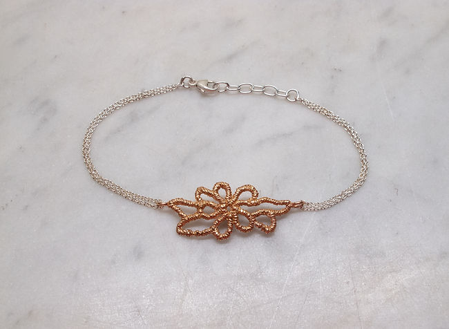 Rose gold and silver lace bridal bracelet