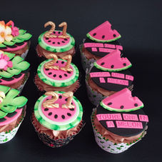 Watermelon themed cupcakes for a 21st birthday!