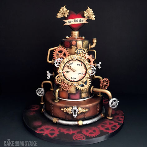 The Decade Eraser. Steampunk time machine cake