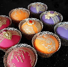 Bollywood cupcakes in gorgeous jewel colours