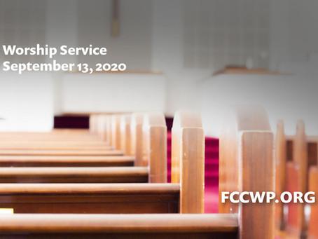 Worship: September 13, 2020