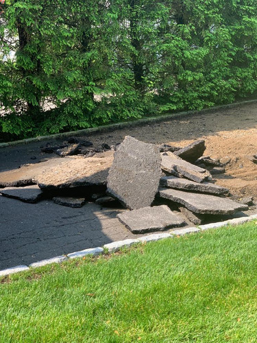 Removing Old Asphalt. Sound Beach Ave. Old Greenwich, CT.