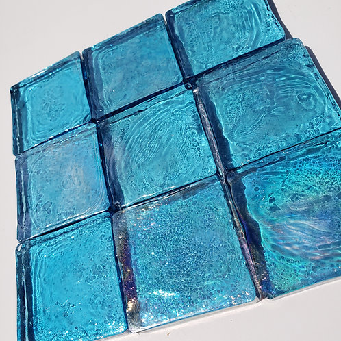 1 lb Iridized Aqua Blue Glass Tiles - 40 mm x 8 mm