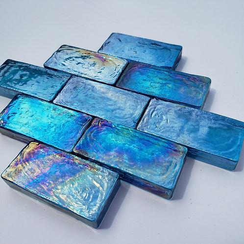 1 lb Iridized Aqua Blue Rectangle Tiles