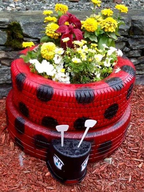 Lady Bug Upcycled Tyre Planter cum Garden Decor