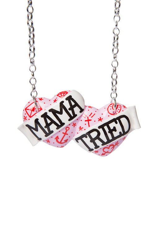 Mama Tried large double heart necklace