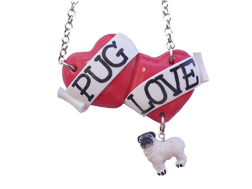Pug Love large double heart necklace