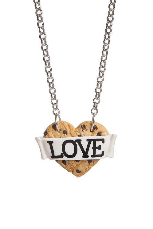 Chocolate Chip Cookie Heart necklace
