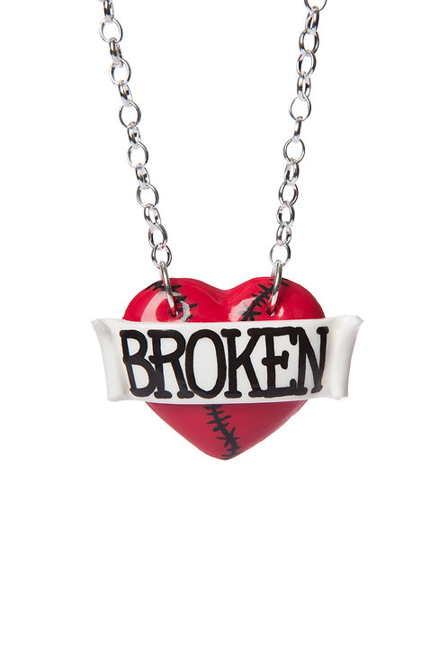 Broken single heart necklace