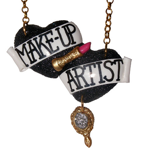 Make-Up Artist large double heart necklace