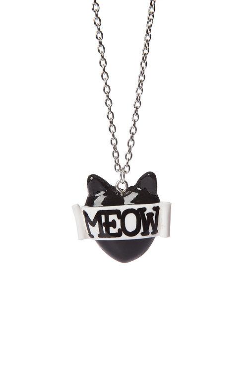 Meow mini single heart necklace