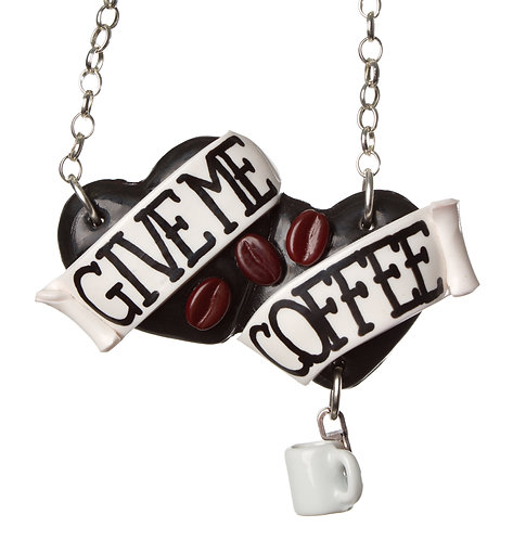 Give Me Coffee large double heart necklace