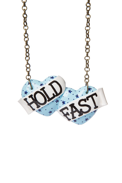 Hold Fast large double heart necklace