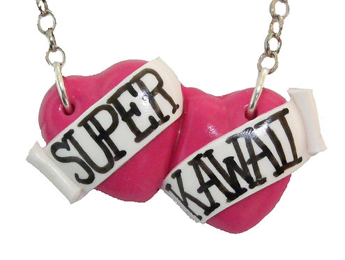 Super Kawaii large double heart necklace