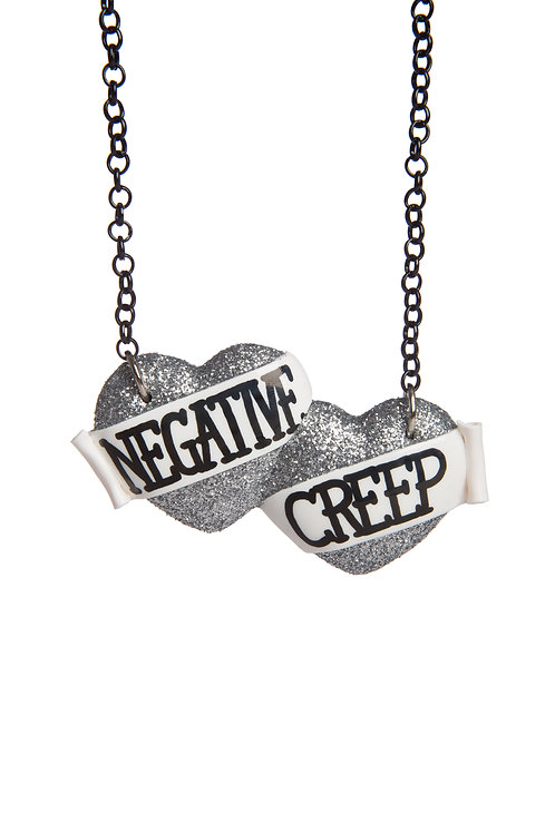 Negative Creep large double heart necklace