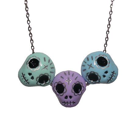 Triple sugar skull necklace
