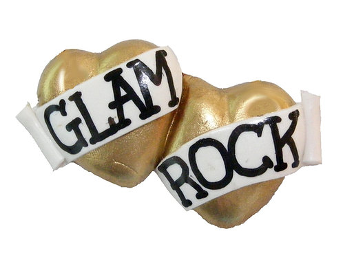 Glam Rock small double heart barrette