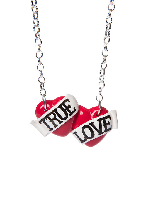 True Love small double heart necklace