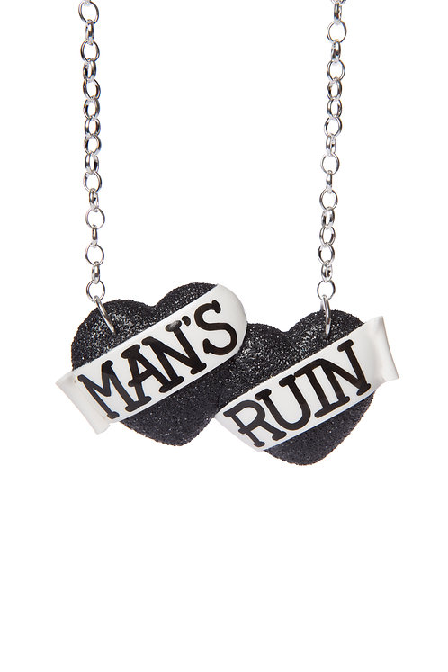Man's Ruin large double heart necklace