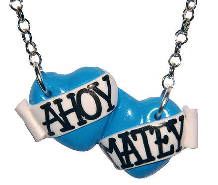 Ahoy Matey small double heart necklace