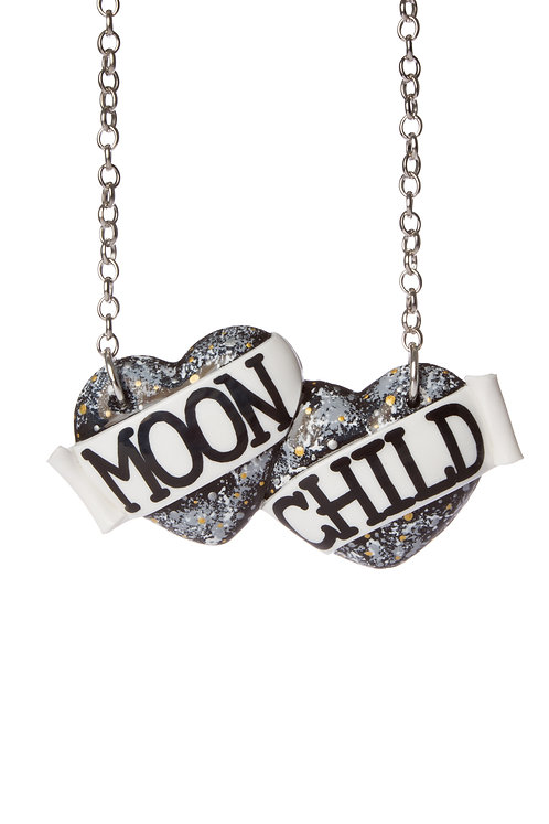 Moon Child large double heart necklace