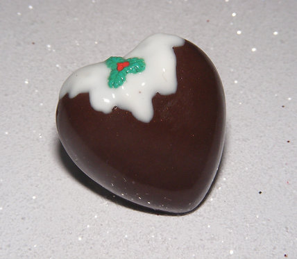 Christmas pudding single heart ring
