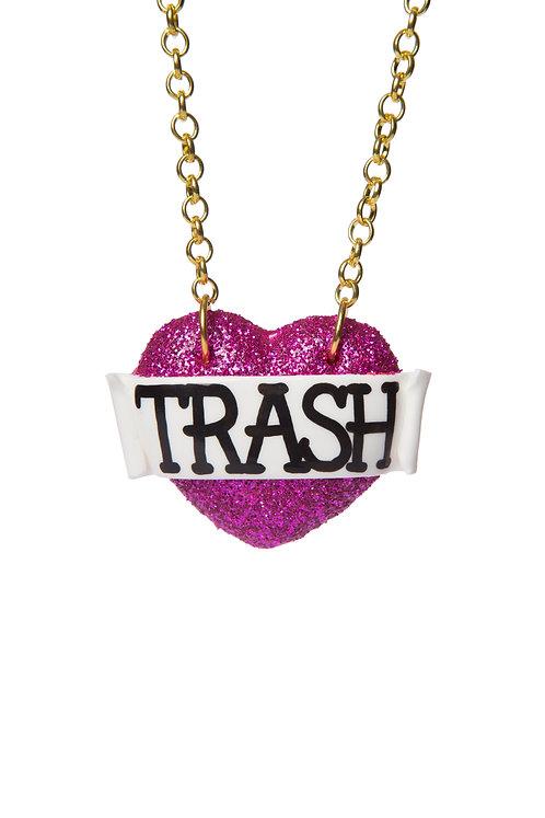 Trash single heart necklace