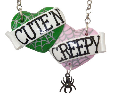 Cute 'n' Creepy large double heart necklace