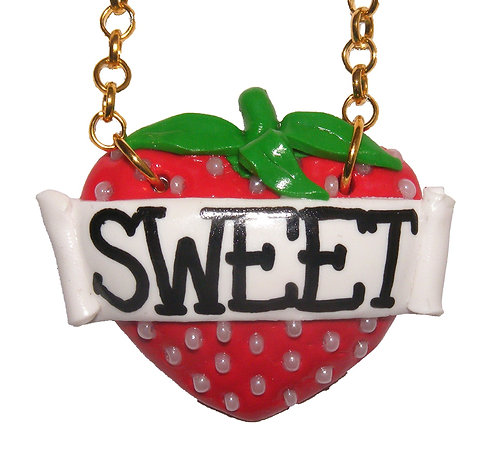 Sweet strawberry single heart necklace