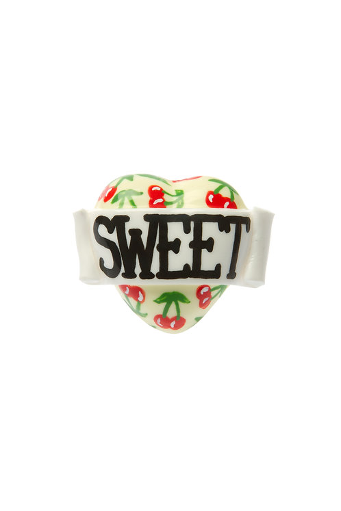 Sweet cherry print single heart ring