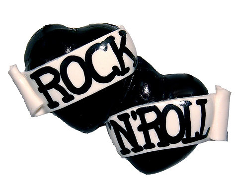 Rock 'n' Roll small double heart barrette