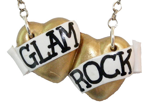 Glam Rock small double heart necklace