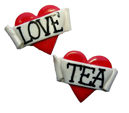 Love Tea 2D heart studs