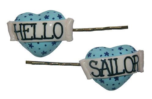 Hello Sailor heart hair slides