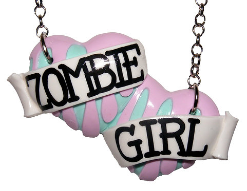 Zombie Girl large double heart necklace