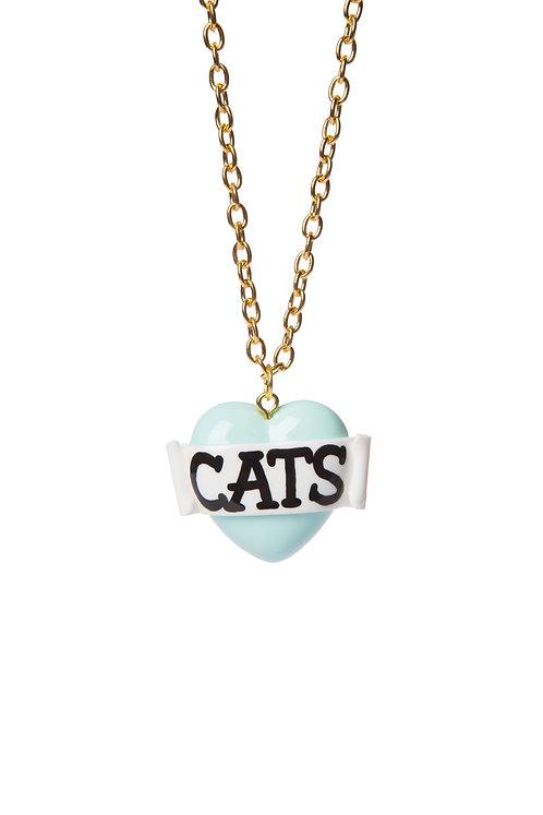 Cats mini single heart necklace
