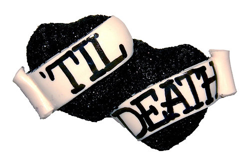 'Til Death small double heart barrette