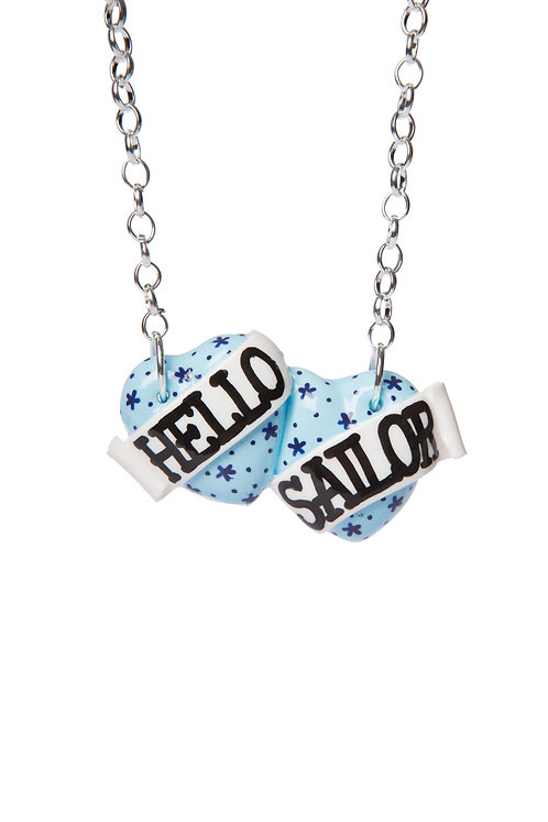 Hello Sailor small double heart necklace