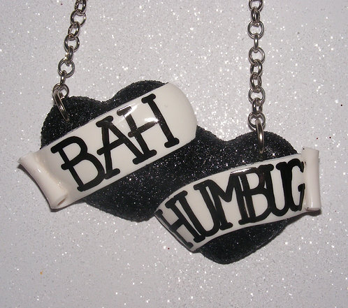 Bah Humbug large double heart necklace