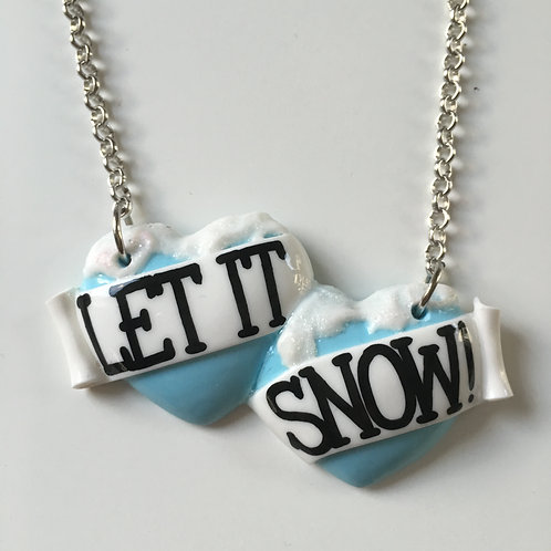 Let It Snow! large double heart necklace