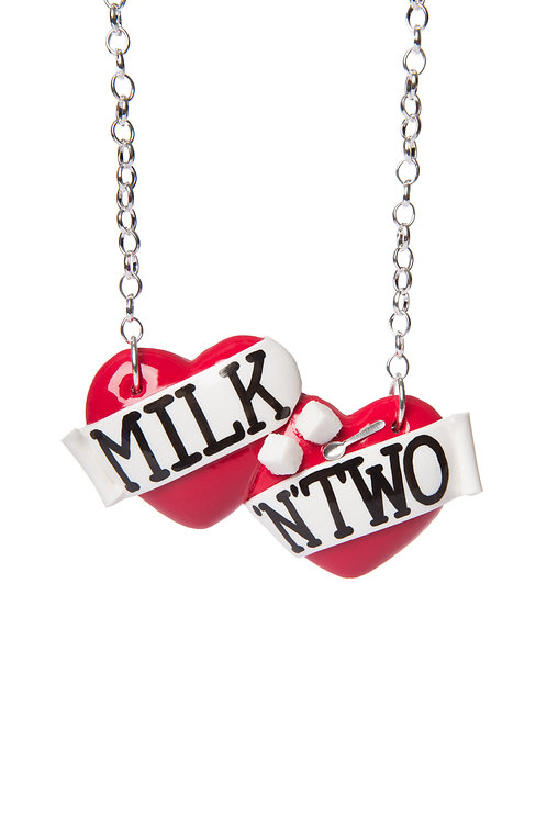 Milk 'n' Two large double heart necklace