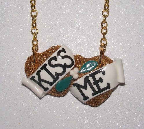 Kiss Me small double heart necklace