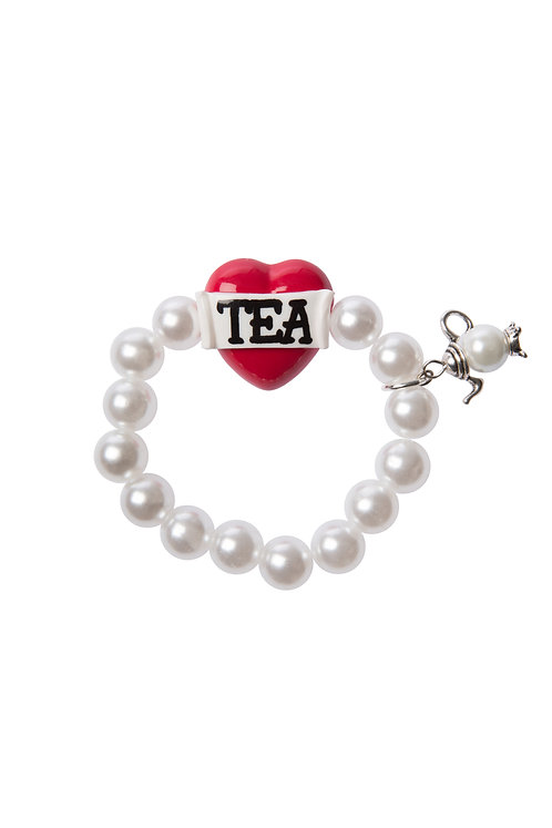 Tea stretch bracelet with teapot