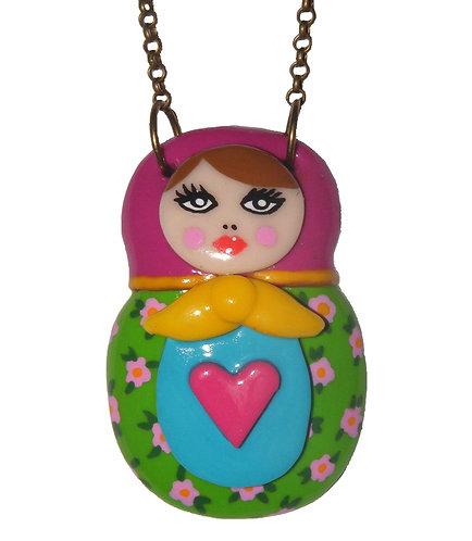 Floral Matryoshka doll necklace