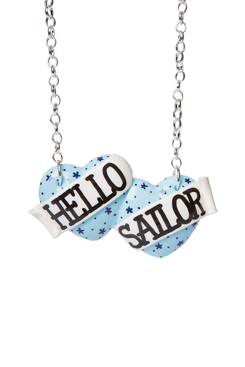 Hello Sailor large double heart necklace