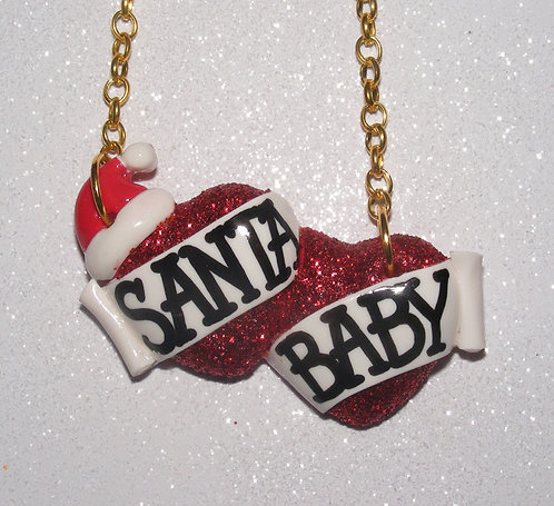 Santa Baby small double heart necklace