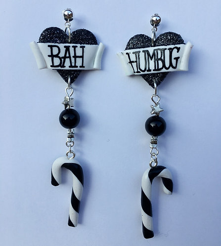 Bah Humbug extra long drop earrings